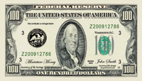 One Hundred Dollar Bill Drop Card Sample