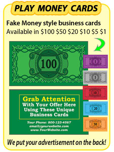 Drop cards sizzle cards 20 dollar bill drop cards 100 dollar monopoly money business cards colourmoves Image collections