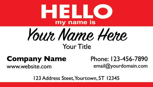 Black Smart Phone Business Card Hello My Name