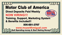 Motor Club of America Business Card