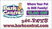 $5 off pet resort business card sample