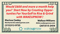 wake up now business cards