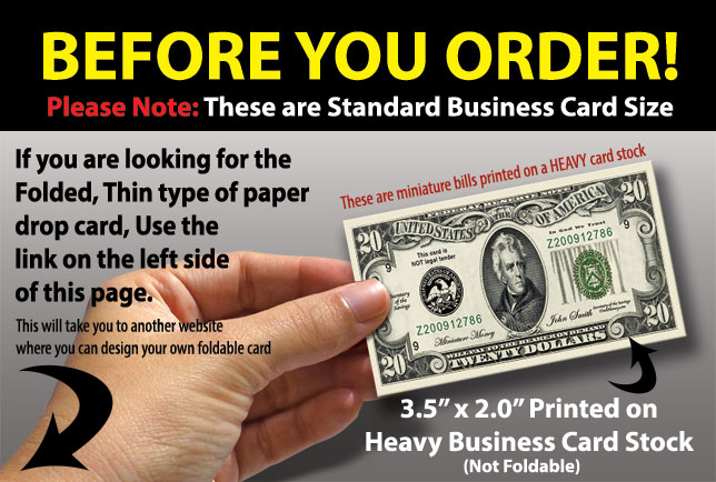Drop card marketing business cards always free design dollar bill drop cards colourmoves